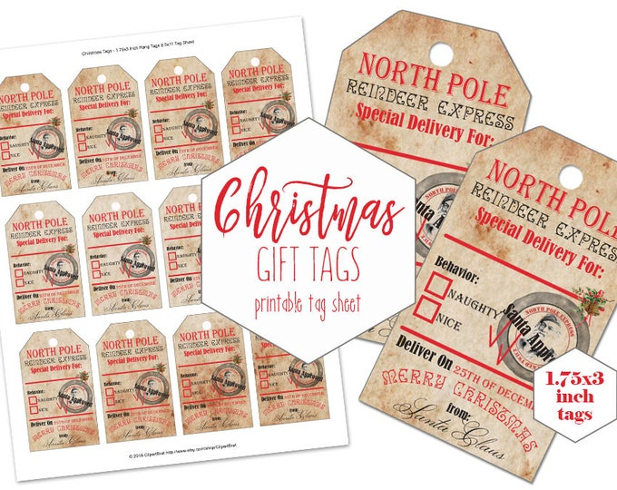 CHRISTMAS TAGS PRINTABLE Digital Vintage Authentic From Santa Claus Tag Collage Sheet Naughty or Nice Holiday Gift Tags Diy Christmas Labels