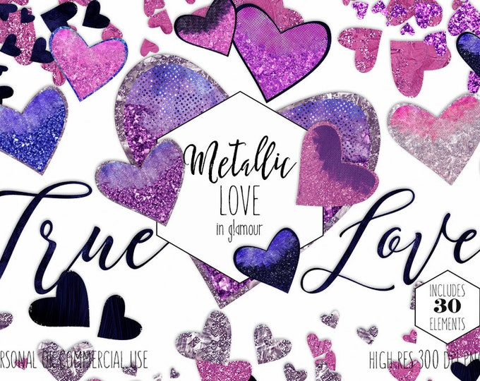 NAVY BLUE & PINK Glitter Hearts Clipart Commercial Use Clip Art True Love Metallic Purple Heart Confetti Valentine's Day Wedding Graphics