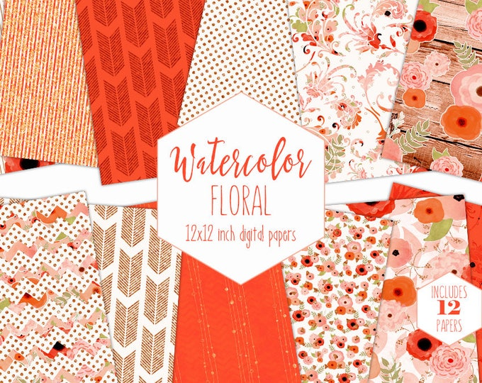 CORAL FLORAL WATERCOLOR Digital Paper Pack Commercial Use Peach Backgrounds Metallic Scrapbook Papers Wood Arrows Boho Chic Wedding Patterns