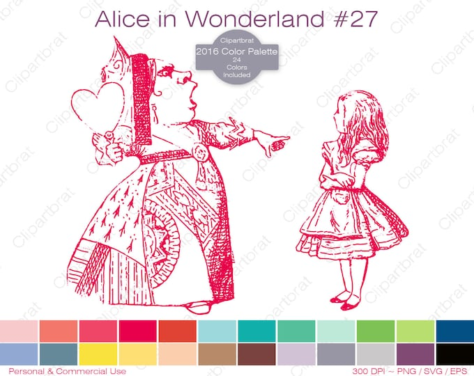 ALICE IN WONDERLAND Clipart Commercial Use Clipart The Queen Of Hearts Graphic 2016 24 Color Palette John Tenniel Vector Png Eps Svg