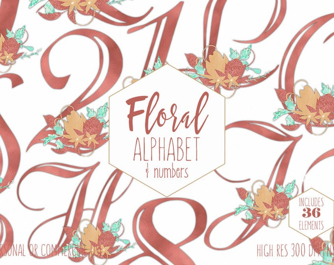 COPPER FOIL ALPHABET Clipart for Commercial Use Floral Monogram Clip Art Wedding Letters & Numbers Gold Yellow Flower Alpha Digital Graphics
