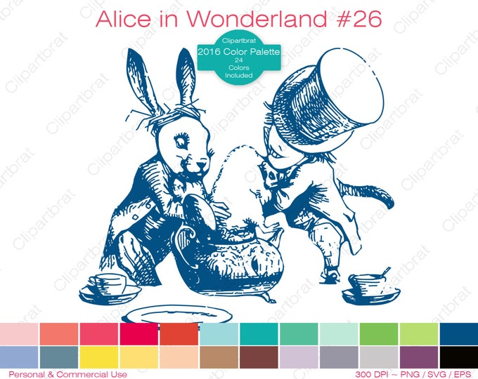 ALICE IN WONDERLAND Clipart Commercial Use Clipart The Mad Hatter Tea Party Graphic 2016 24 Color Palette John Tenniel Vector Png Eps Svg