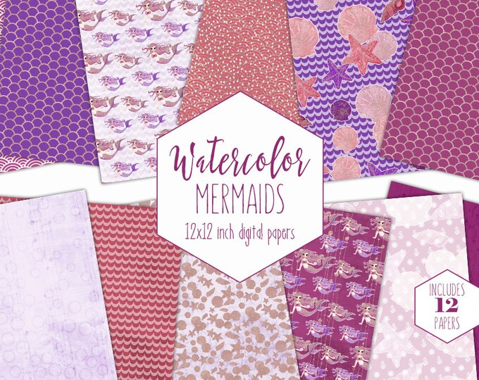 PINK WATERCOLOR MERMAID Digital Paper Pack Commercial Use Under the Sea Backgrounds Burgundy Rose Gold Scales Scrapbook Birthday Patterns