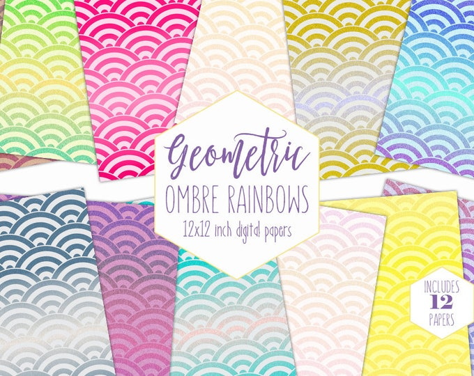 OMBRE RAINBOW Digital Paper Pack Fun Bright Backgrounds Pink Purple & Blue Scrapbook Papers Birthday Patterns Party Printable Kids Clipart