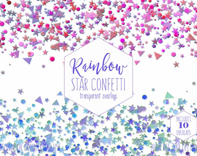 STAR CONFETTI OVERLAY Clipart for Commercial Use Party Clip Art Invitation Borders Purple Blue & Pink Birthday Celebration Digital Graphics