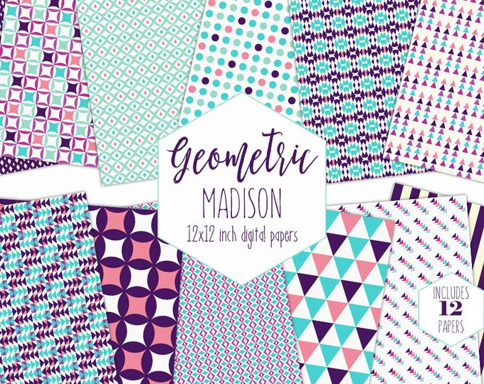 AQUA PINK & PURPLE Digital Paper Pack Commercial Use Cute Geometric Backgrounds Stripe Dot Triangle Scrapbook Paper Party Printable Patterns