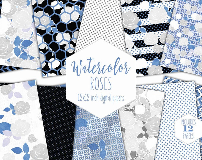 STRIPES BLUE FLORAL Digital Paper Pack Commercial Use Backgrounds Silver Metallic Scrapbook Papers Roses Flowers Wedding Watercolor Paper