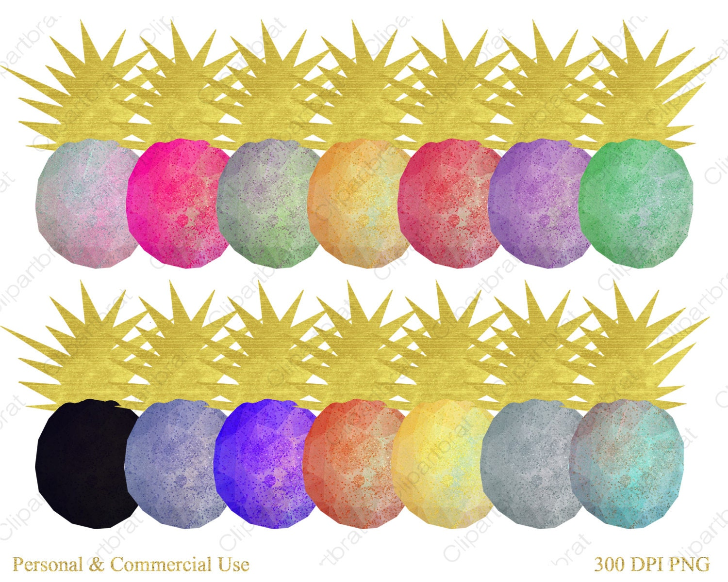 GOLD GEO PINEAPPLE Clipart for Commercial Use Planner Clip ...
