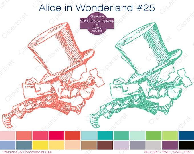 ALICE IN WONDERLAND Clipart Commercial Use Clipart The Mad Hatter Graphic 2016 24 Color Palette John Tenniel Digi Sticker Vector Png Eps Svg