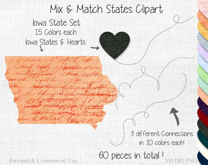 IOWA STATE to STATE Clipart Commercial Use Clipart Mix & Match States Wedding Clipart Iowa Map Heart Map Graphic Valentine's Day Clipart