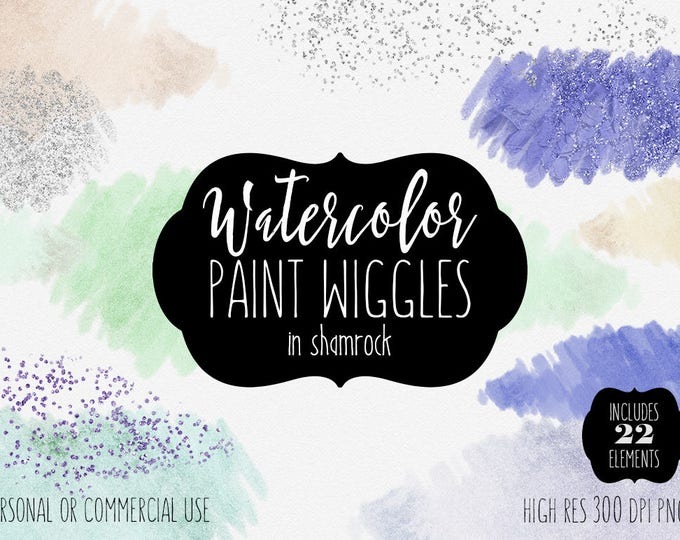 MINT WATERCOLOR PAINT Strokes Clipart Commercial Use Clip Art 22 Brush Strokes Pastel Green Peach Silver Confetti Textures Shop Logo Graphic
