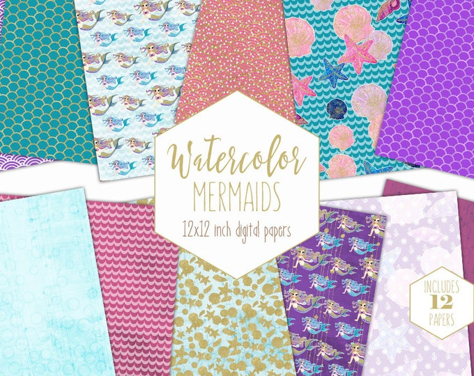 WATERCOLOR MERMAID Digital Paper Pack Commercial Use Under the Sea Backgrounds Gold Metallic Mermaid Scale Scrapbook Paper Ocean Patterns