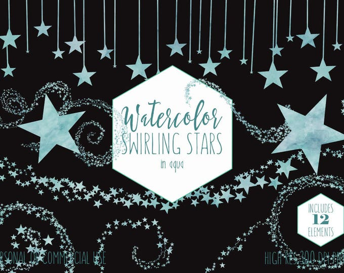 AQUA WATERCOLOR STAR Clipart Commercial Use Clip Art Swirling Star Graphics Star Borders Frames Clipart For Baby Night Sky Digital Images