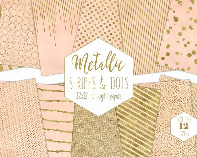 PEACH & GOLD FOIL Digital Paper Pack Stripe Backgrounds Metallic Confetti Scrapbook Paper Polka Dot Baby Patterns Party Printable Clipart