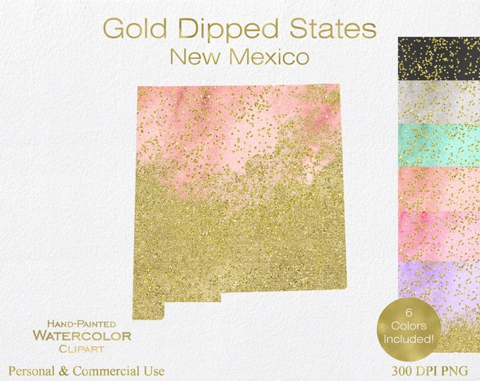 WATERCOLOR & GOLD New Mexico Clipart Commercial Use Clipart United States Shape Wedding Clipart Gold Confetti Dust New Mexico Clip Art