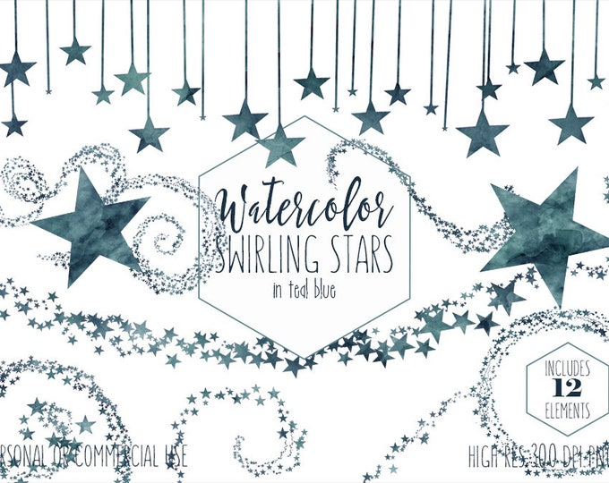 TEAL BLUE WATERCOLOR Stars Clipart Commercial Use Clip Art Navy Swirling Star Graphics Celestial Confetti Bunting Banner Baby Boy Graphics
