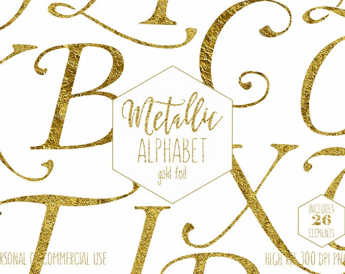 GOLD FOIL ALPHABET Clipart for Commercial Use Wedding Monogram Letters Clip Art Capital Letters Metallic Gold Pressed Foil Curly Alpha Png