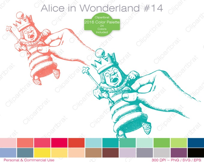 ALICE IN WONDERLAND Clipart Commercial Use Clipart The King of Hearts Graphic 2016 24 Color Palette John Tenniel Sticker Vector Png Eps Svg