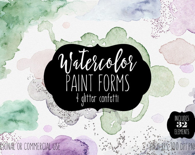 PEACH PURPLE & GREEN Watercolor Paint Strokes Forms Clipart Commercial Use Clipart 32 Watercolor Brush Strokes Texture Edges Logo Clip Art