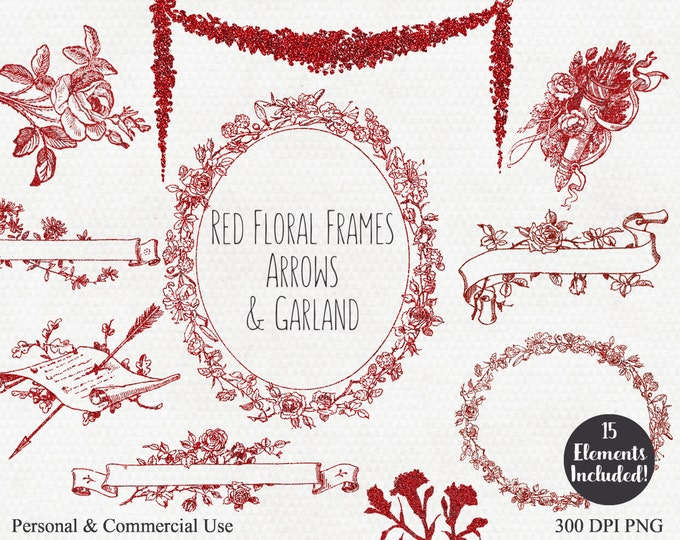 RED FLORAL CLIPART Commercial Use Clip Art 15 Glitter Floral Wreaths Frames Banner Garland Rose & Arrow Graphics Valentine's Day Clipart