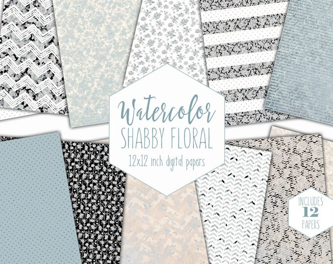 BLUE WATERCOLOR FLORAL Digital Paper Pack Commercial Use Cream Flower Backgrounds Shabby Chic Writing Scrapbook Paper Dot Stripe Patterns