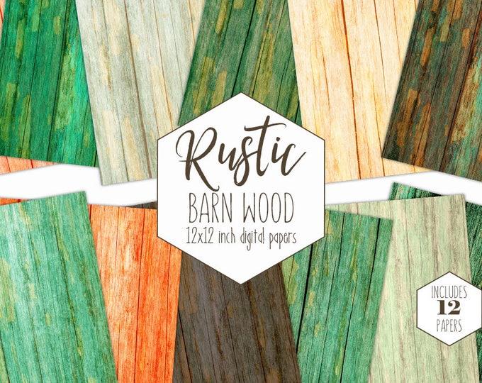 RUSTIC WOOD Digital Paper Pack Green Natural Backgrounds Brown Barn Wood Grain Scrapbook Paper Distressed Patterns Printable Commercial Use
