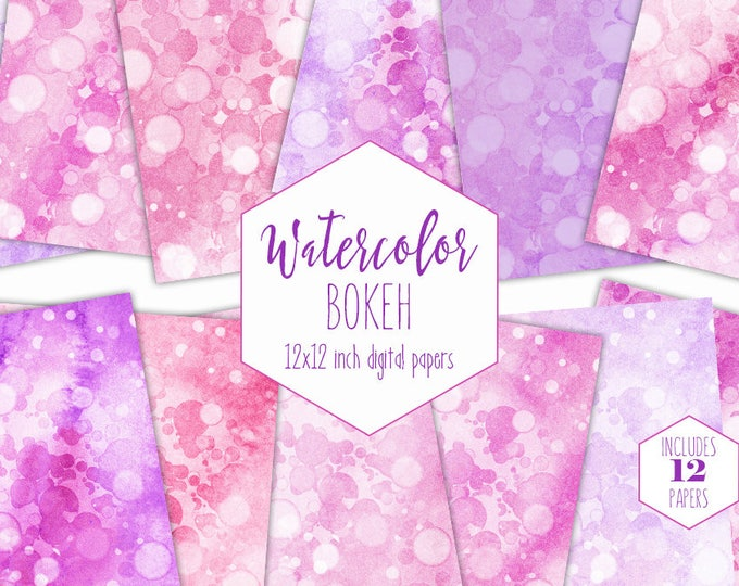 PINK BOKEH WATERCOLOR Digital Paper Pack Commercial Use Backgrounds Purple Girly Scrapbook Papers Bubble Dots Real Watercolour Wash Textures