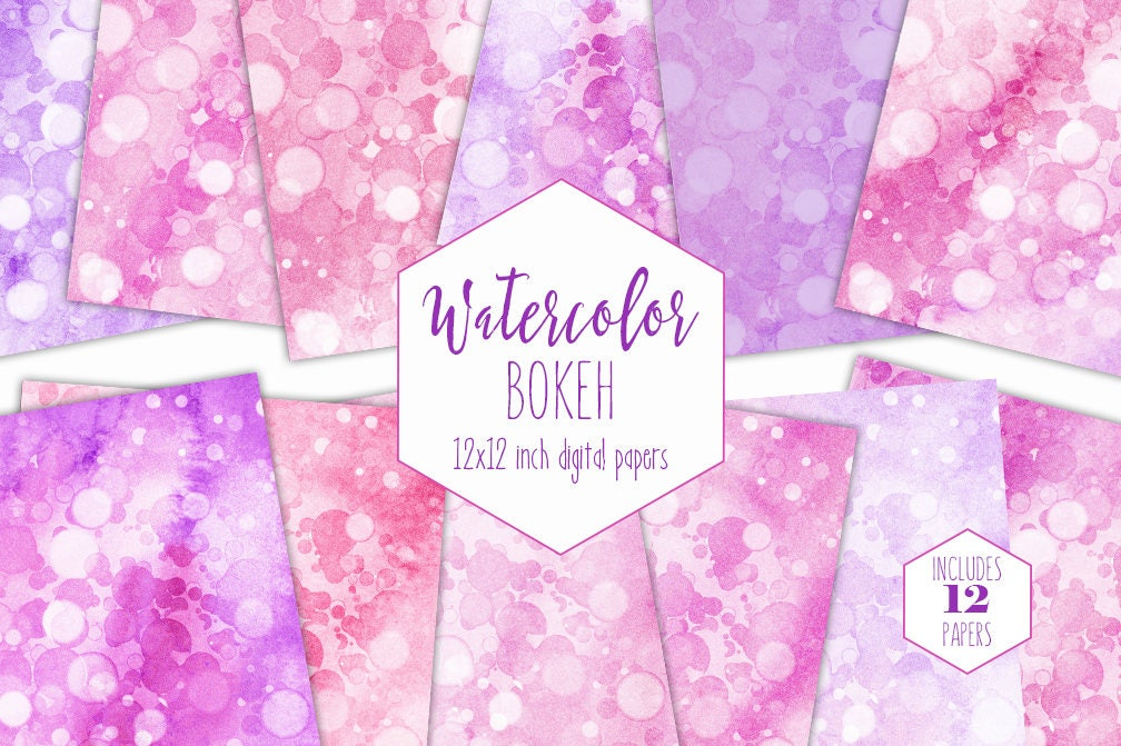 5e6e141bc9726 PINK BOKEH WATERCOLOR Digital Paper Pack Commercial Use ...