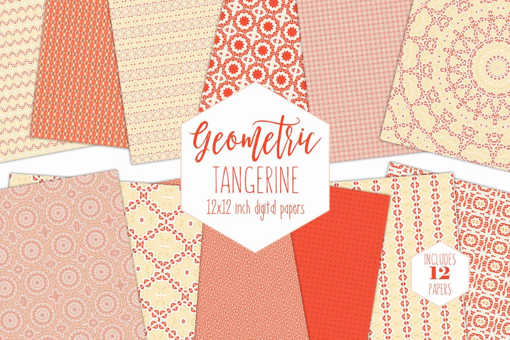 Chic Bohemian Digital Paper Pack Yellow Peach Orange Backgrounds Citrus Scrapbook Papers Summer Patterns Party Printable Kitchen Clipart