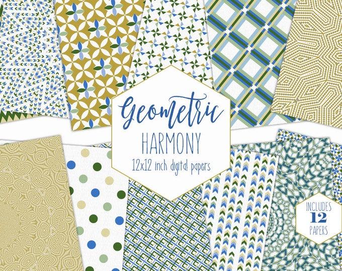 MUSTARD YELLOW Digital Paper Pack Bohemian Backgrounds Geometric Mandala Scrapbook Papers Arrow Dot Patterns Boho Party Printable Clipart