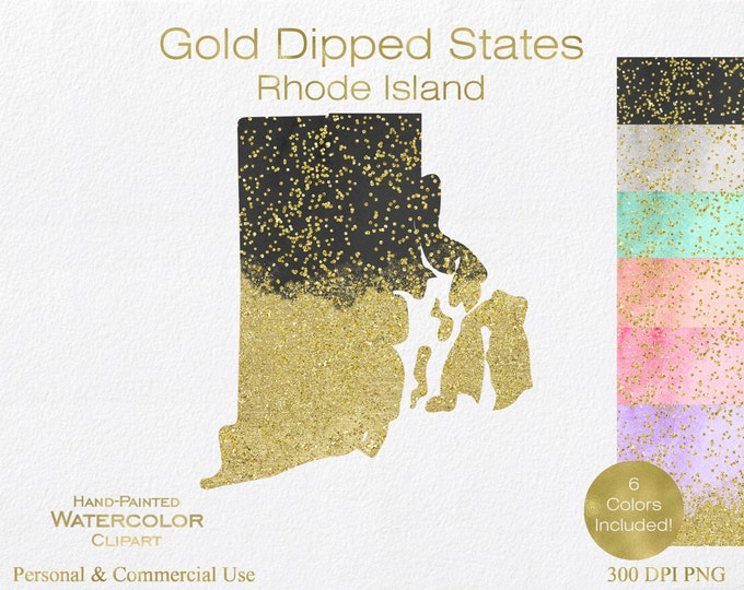 WATERCOLOR & GOLD Rhode Island Clipart Commercial Use Clipart United States Shapes Wedding Clipart Gold Confetti Dust Rhode Island Clip Art