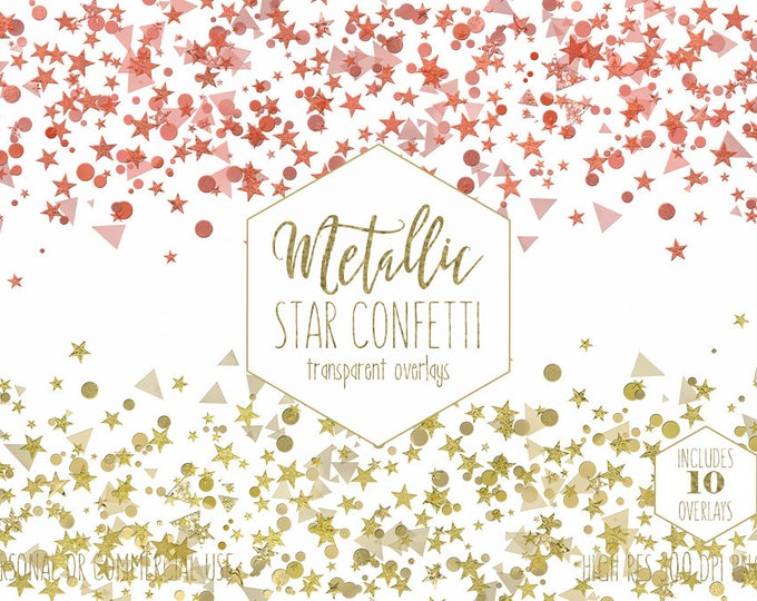 GOLD STAR CONFETTI Clipart for Commercial Use Clip Art Metallic Border Overlays Silver Rose Gold Birthday Party Invitation Digital Graphics