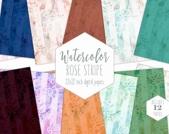 SHABBY ROSE STRIPE Digital Paper Pack Commercial Use Watercolor Floral Backgrounds Flower Scrapbook Paper Pink Blue Mint Wedding Patterns