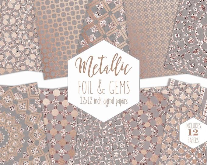 ROSE GOLD FOIL Digital Paper Pack Wedding Backgrounds Metallic Geometric Scrapbook Paper Gem Pattern Party Printable Commercial Use Clipart