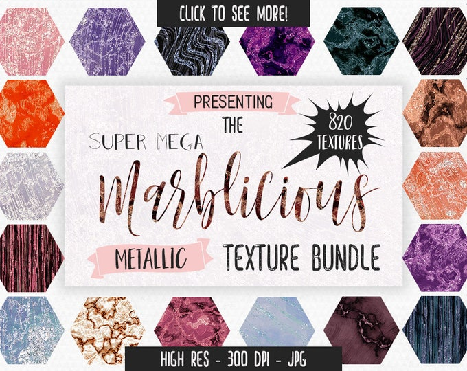 METALLIC MARBLE TEXTURES Big Bundle Commercial Use Marbled Digital Backgrounds Rose Gold, Gold, SIlver Marble Texture Bundle Chic & Trendy