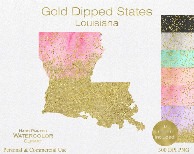 WATERCOLOR & GOLD LOUISIANA Clipart Commercial Use Clipart United States Shape Wedding Clipart Gold Confetti Dust Louisiana State Clip Art