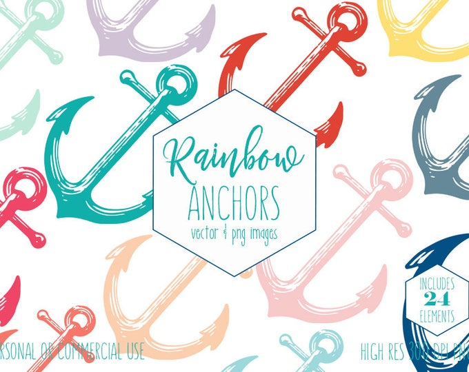 NAUTICAL ANCHOR SHAPES Clipart for Commercial Use Summer Beach Ocean Vector Anchors Rainbow Colors Kids Party Digital Graphics Svg Anchors