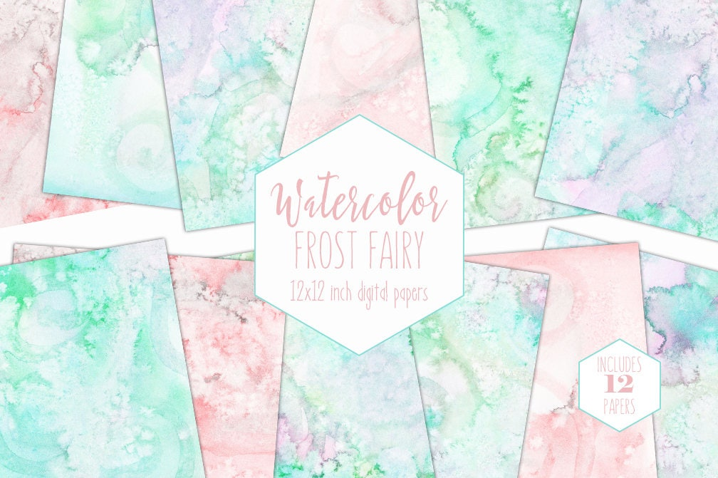 Pastel Rainbow Watercolor Digital Paper Pack Commercial Use Backgrounds Blush Mint Scrapbook Papers Pink Watercolour Textures Baby Clipart