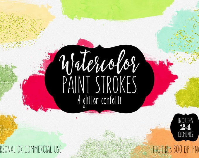 MODERN PAINT STROKE Clipart Commercial Use Clipart 24 Watercolor Brush Strokes Metallic Gold Confetti Watercolor Textures Logo Clip Art