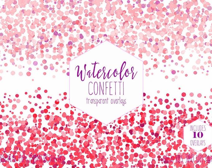 PINK CONFETTI BORDER Clipart Commercial Use Clip art 10 Party Confetti Transparent Overlays Blush Pink Purple Wedding Invitation Graphics