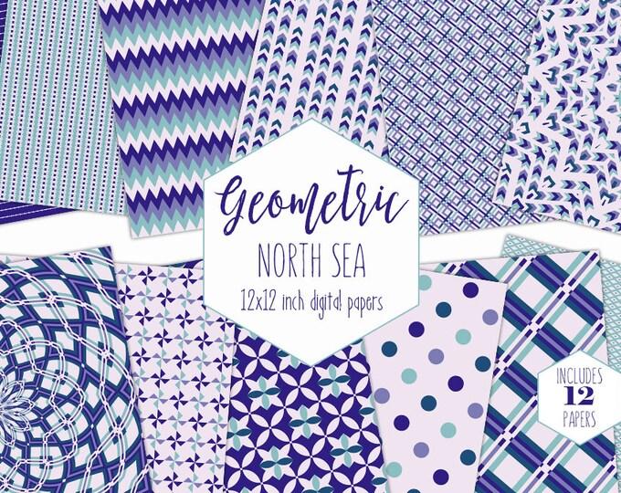 AQUA & ROYAL BLUE Digital Paper Pack Boy Backgrounds Mandala Scrapbook Paper Stripe Plaid Patterns Party Printable Commercial Use Clipart