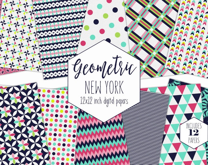 AQUA & NAVY BLUE Digital Paper Pack Commercial Use Pink Geometric Backgrounds Polka Dot Plaid Arrow Triangle Scrapbook Paper Party Patterns