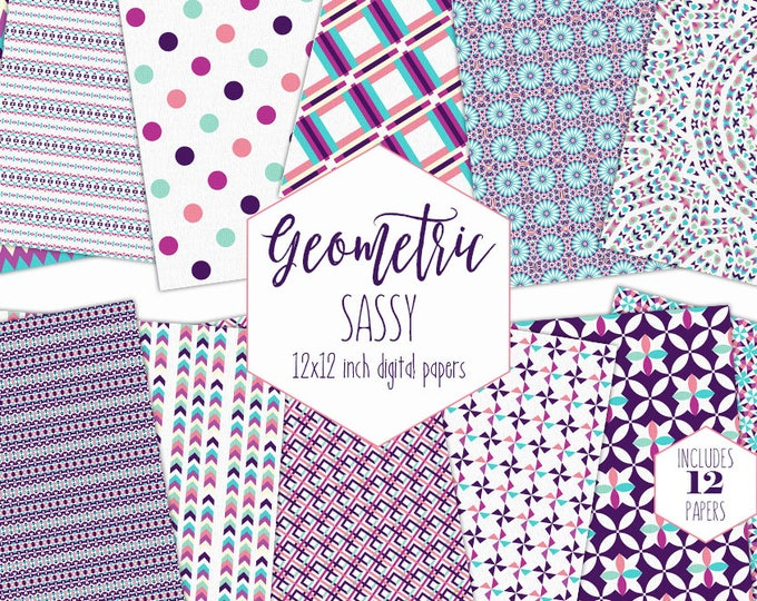 PURPLE & PINK Digital Paper Pack Girls Birthday Backgrounds Arrow Dot Stripe Scrapbook Papers Geometric Patterns Party Printable Clipart