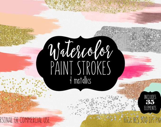 WATERCOLOR & GOLD PAINT Strokes Clipart Commercial Use Clipart 35 Watercolor Brush Splotch Gold Confetti Watercolor Textures Logo Clip Art