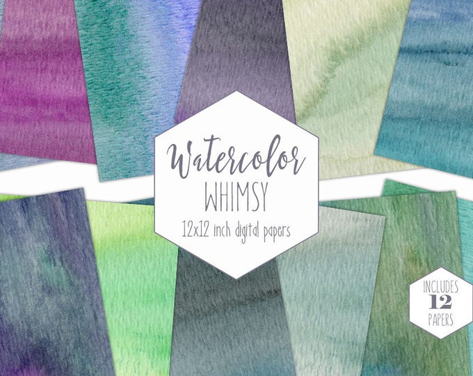 TEAL WATERCOLOR Digital Paper Pack Commercial Use Rainbow Backgrounds Purple Scrapbook Papers Aqua Watercolor Wash Textures Birthday Clipart