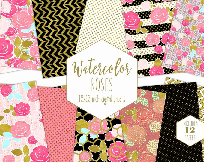 PINK & GOLD FLORAL Digital Paper Pack Black White Stripe Backgrounds Wedding Scrapbook Papers Commercial Use Watercolor Flower Dot Patterns
