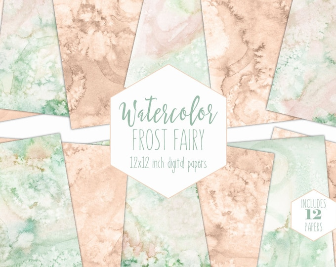 MINT & PEACH WATERCOLOR Digital Paper Pack Commercial Use Backgrounds Pastel Scrapbook Papers Real Watercolour Textures Baby Shower Clipart