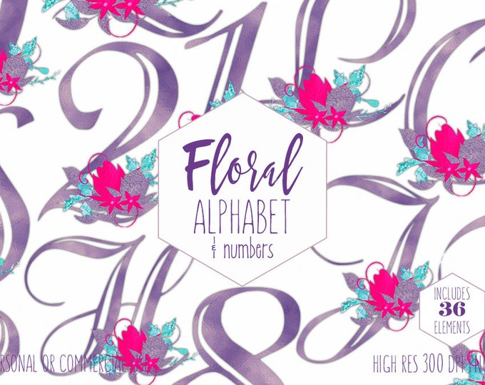 PURPLE FOIL ALPHABET Clipart for Commercial Use Birthday Floral Letters & Numbers Clip Art Wedding Monograms Pink Flowers Digital Graphics