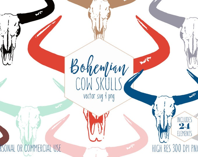 BOHEMIAN SKULL CLIPART for Commercial Use Boho Chic Clip Art Rustic Yak Cattle Cow Head & Skeleton Horns Vector Clipart Digital Graphics Svg