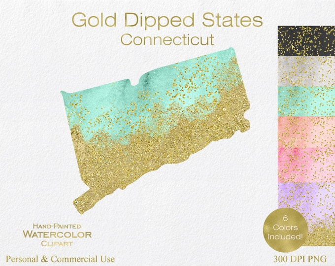 WATERCOLOR & GOLD CONNECTICUT Clipart Commercial Use Clipart United States Wedding Clipart Gold Confetti Dust Connecticut State Clip Art